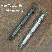 New Stainless Steel Tactical Pen Vintage Design Pen Bolt Switch Etro Ball Point Pen Self Defense Supplies EDC Tool Gift