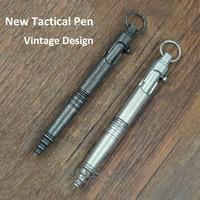 New Stainless Steel Tactical Pen Vintage Design Pen Bolt Switch Retro Ball Point Pen Self Defense