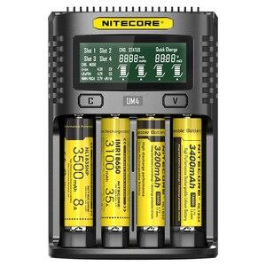Image 2 - 100% الأصلي NITECOR UM4 C4 VC4 LCD USB شاحن بطاريات ذكي ل ليثيوم أيون IMR INR ICR LiFePO4 18650 14500 26650 AA 3.7 1.2V 1.5V