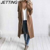 JETTING 1 יחידות הלבשה עליונה דקה צווארון תורו למטה אופנה מעיל גשם צמר מעילי חורף נשים מוצקים חזה מעיל