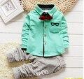 2016 Новая Мода Китайский стиль Спортивные пальто Детей 3 Цвет выбрали мальчик и девочка подарок На День Рождения малыша брюки набор детская одежда 1-6Y