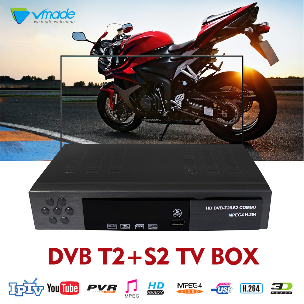 цена на Vmade Full HD DVB T2+S2 8902 Decoder support wifi IKS Cccam Youtube Biss Terrestrial Satellite Receiver Combo Iptv set top box