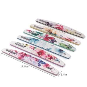 Image 4 - Ensemble de limes à ongles imprimées fleurs, bloc tampon coloré 80/100/150/180/240/320, outil de manucure, nouveau