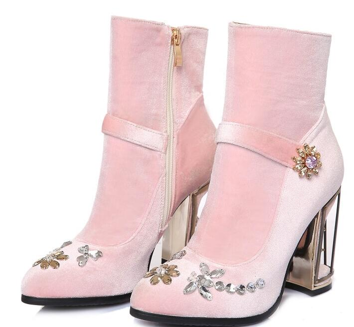 98b3ba9dfecc hot selling short boots vintage pink velvet crystal embellished high heel  boots woman flower ankle boots caged style boots -in Ankle Boots from Shoes  on ...
