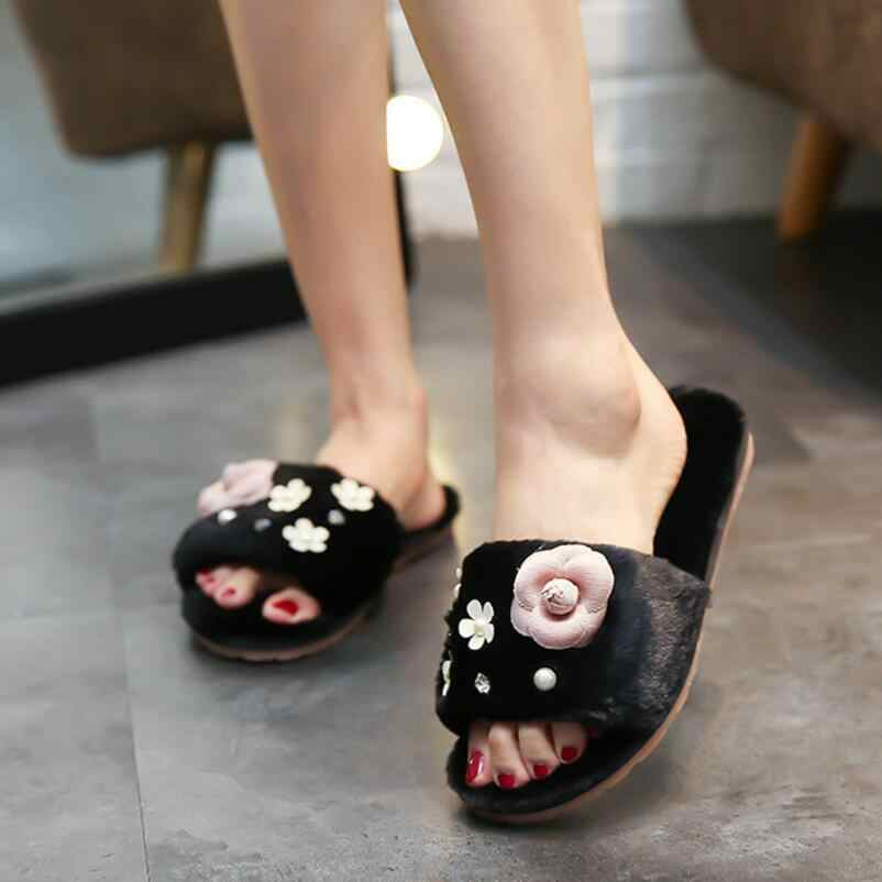 473da0b8f8bd33 fashion designer camellia fur slippers women crystal and pearl decoration winter  sandals flat heel plush flip