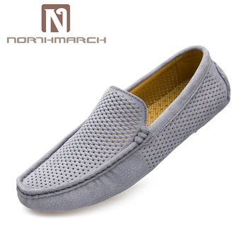 NORTHMARCH Men Loafers Casual Shoes Fashion Genuine Leather Breathable Slip On Driving Shoes Men Moccasins Hollow Out Flats Shoe personalized tassel rivet fashion breathable slip on genuine leather men shoes rhinestone handmade casual party nightclub shoes