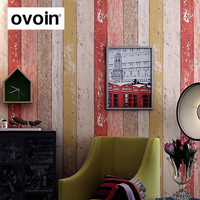 Colorful Embossed Wood Grain Wallpaper Vintage Vinyl 3D Effect Wood Wall Paper Roll For Living Room