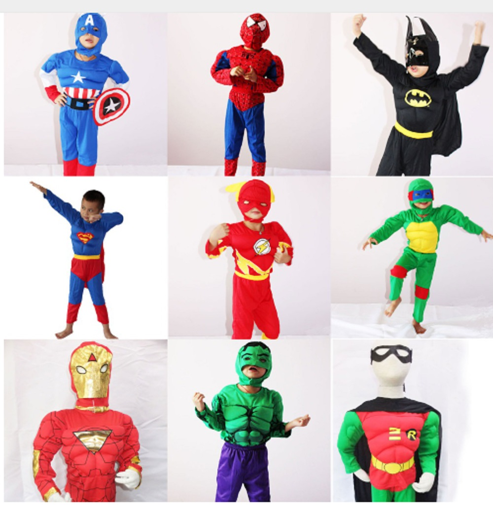 Halloween Costume For Kids Captain American Spiderman Superman Robin The Hulk The Flash Muscle Cosplay Costume Avengers Costume