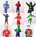 Traje de Halloween Para Crianças, menino Capitão América, Homem Aranha, Batman, Superman, Robin, O Hulk, TMNT Traje Muscular, Vingadores traje