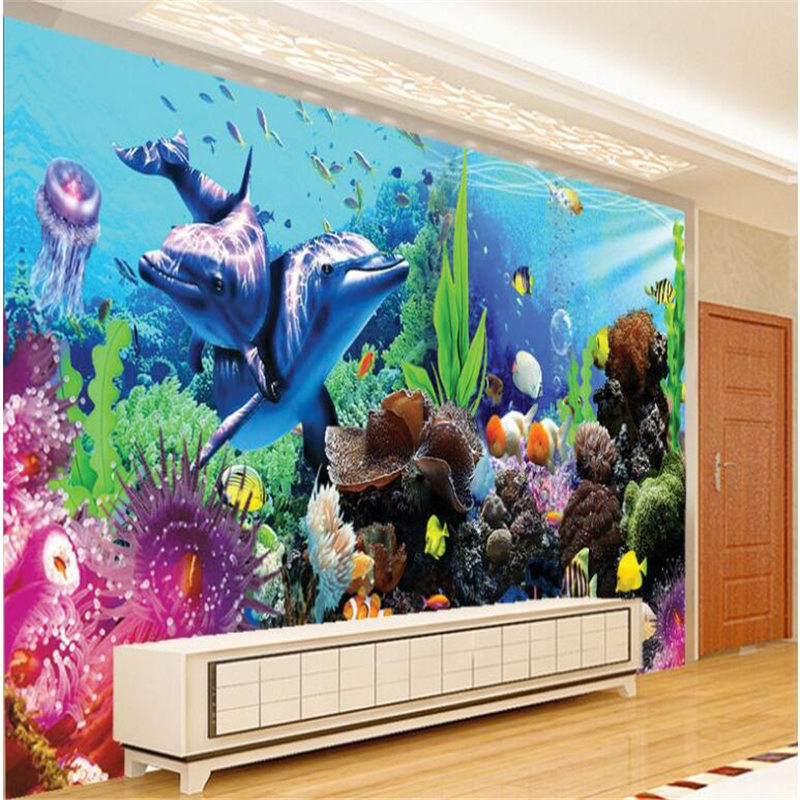 beibehang Large Custom Fresco Wallpaper Underwater World Aquarium 3D 3D Tropical Fish TV Wall papel de parede 3d image