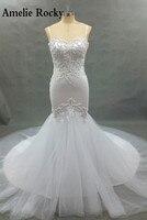 Vestidosデ·ノビア2018パールビーズマーメイドウェディングドレス2018高級ロングテールのウェディングドレスabiti