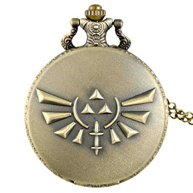 Vintage Bronze The Legend of Zelda Quartz Pocket Watch Retro Men Women Zelda Pen