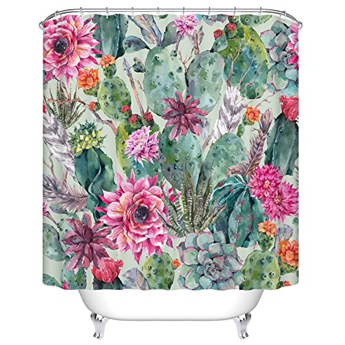 Cactus and Flower Mildew Resistant Polyester Fabric Shower Curtain Set With Hooks Bathroom Accessories