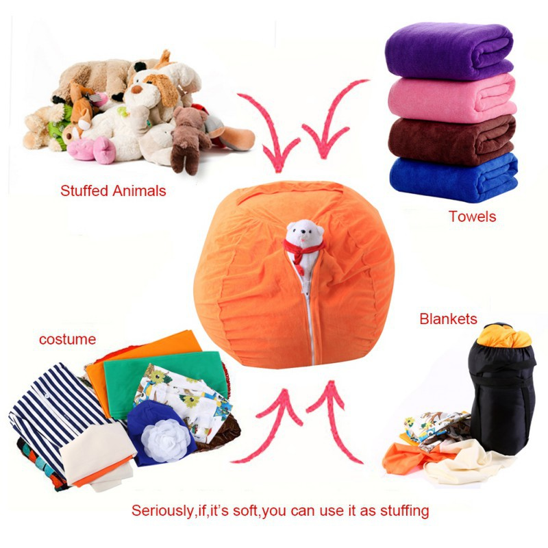 Storage Bags Large Bean Bag Chair Cover Kids' Stuffed Toy Organizer for Kids Bedroom, Storage Solution for Plush Toys Towels