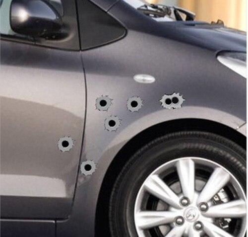 Likebuying Bullethole Shothole Orifice Sticker Graphic Shothole For Car Auto Windows Gray