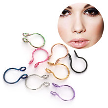 1PC Fake Nose Ring Faux Septum No Piercing Needed Environmental Protection Material Hoop Piercing Cilp Women Jewelry Gifts(China)