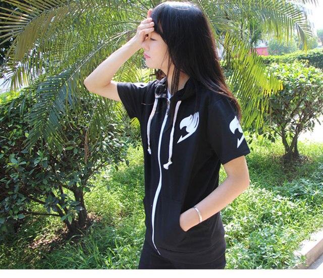 Fairy Tail Natsu Lucy Cosplay Short Sleeve Hoodie