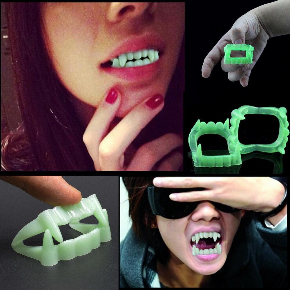 2Pcs Devil Tooth Fangs Halloween Decorative Vampire Luminous Dentures