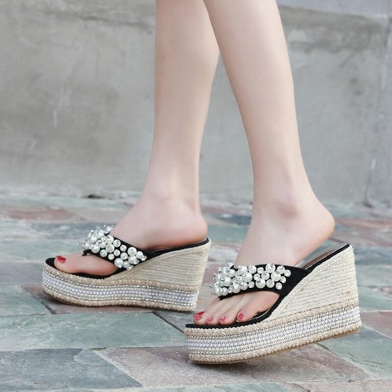 2019 Sandalen Und Hausschuhe Frauen Neue Strand Perle Hang Dicken Boden Flip-flop Heels Chq828-6 Für Mädchen Schuhe
