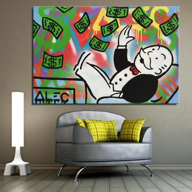 Alec Monopoly Money Cartoon American Style Frameless Oil Painting Unframed Spray Canvas not handmade design Scarf airbrush