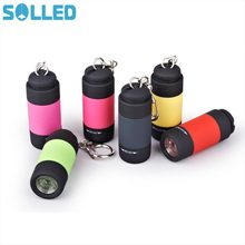 SOLLED Portable Mini Keychain USB Rechargeable Pocket Torch Flashlight Light Lamp IP67 Waterproof Multicolor Flashlight(China)