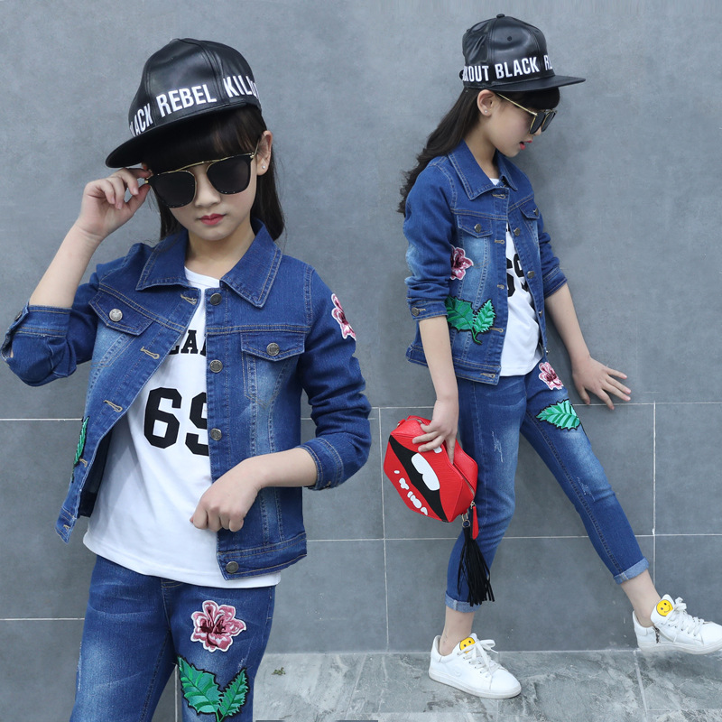 12 Years Teen Girls Clothing Set Autumn Winter Leaf Flower Blue T-shirt Denim Coat Pants Toddler Girl Clothes Boutique Children fashion baby girl t shirt set cotton heart print shirt hole denim cropped trousers casual polka dot children clothing set