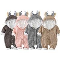 Newborn Baby Boys Girls Jumpsuit Infant Cute Deer Hooded Clothing Cute Children Kids Animal Romper Winter