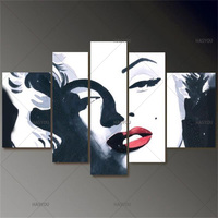 Large Abstract Modern Handmade Marilyn Monroe Canvas Art Wall 5 Piece Canvas Wall Art Oil Painting