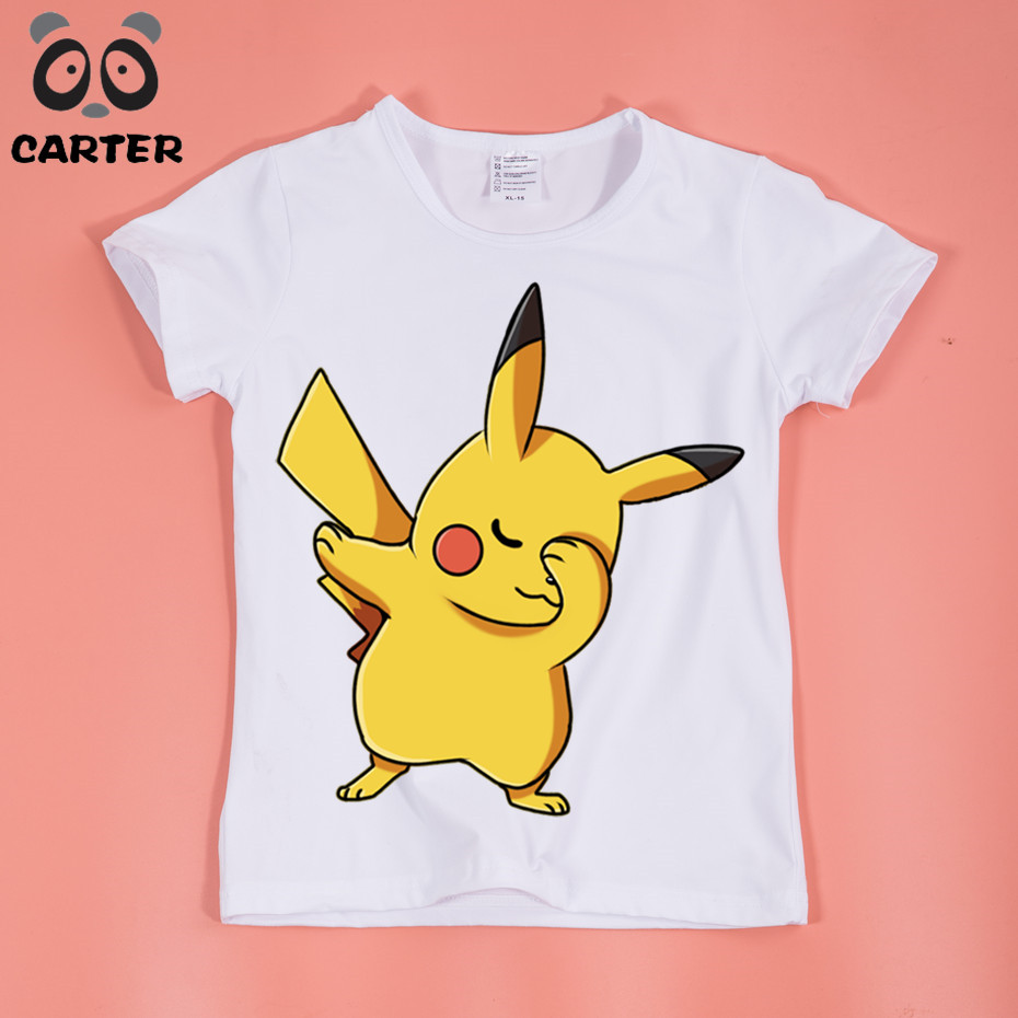 цена Boys/Girls Dabbing Pikachu Cartoon Printed Funny T-shirts Baby Kids Summer Tops Tees Children Anime Pokemon Go Clothes,HKP5105