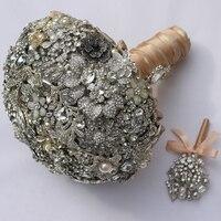 Роскошь Свадебные брошь букет кристалл Перл Ювелирные Изделия Свадебный Букет на заказ Серебряный Ретро Невесты букеты 8 дюймов
