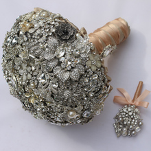 Ultimate luxury Bridal brooch bouquet crystal Pearl Jewelry Wedding Bouquet custom made Silver Retro Bride's bouquets 8 inch