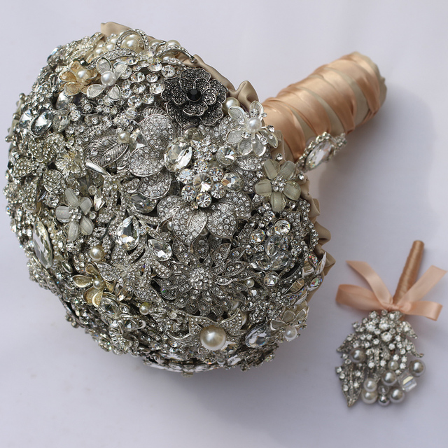 Ultimate luxury Bridal brooch bouquet crystal Pearl Jewelry Wedding