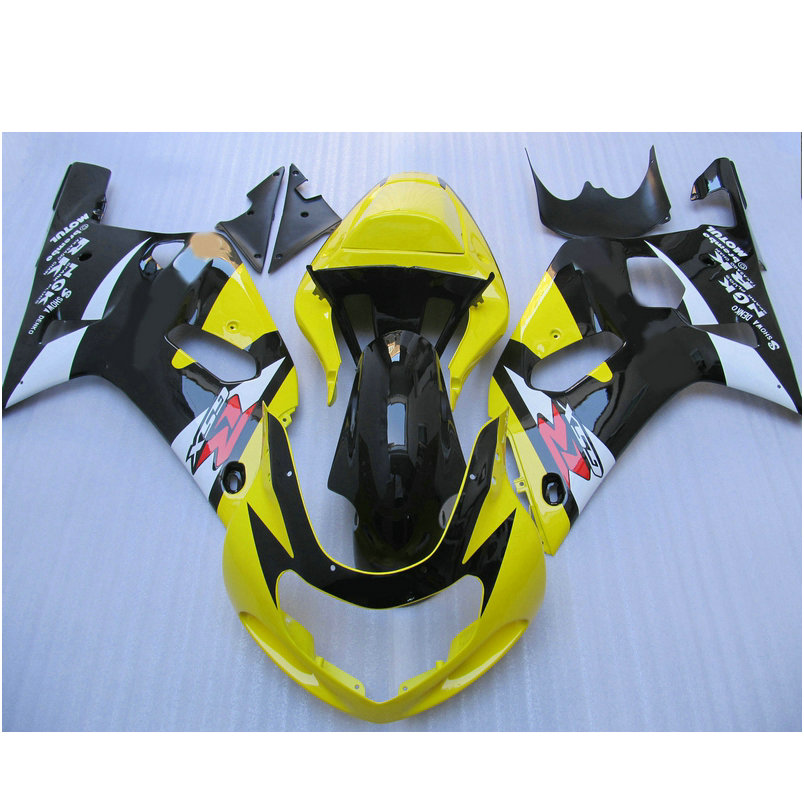 High quality road Injection fairing for SUZUKI 2001 2002 2003 GSXR600 GSX R750 01 02 03 K1 yellow black aftermarket fairings