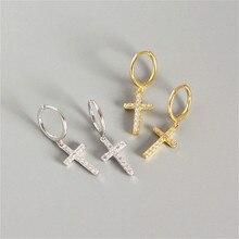 Fengxiaoling Новая мода 925 стерлингового серебра несколько Цирконий крест висячие серьги ювелирные изделия серьги для женщин модные ювелирные изделия