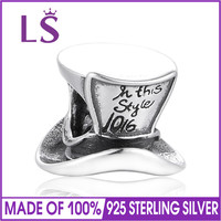 LS Authentic 925 Silver Gentleman Hat Charms Beads Fit European Bracelet For Woman Jewelry Making