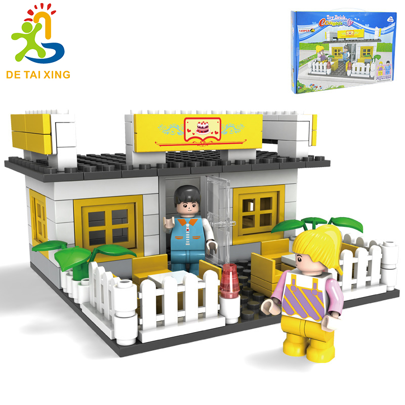 Hot Selling Safe Children Coffee house Building Brick Block plastic Construction Toy Kid Zip Case Kids Intelligence Exercise 24pcs plastic baby kid children house building blocks toy brick construction developmental toy set brain game baby play house