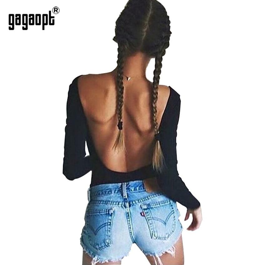 Gagaopt Autumn Winter Backless Bodysuit Women Sexy Bodysuit Long Sleeve Skinny Black Bodysuit Jumpsuit Overalls