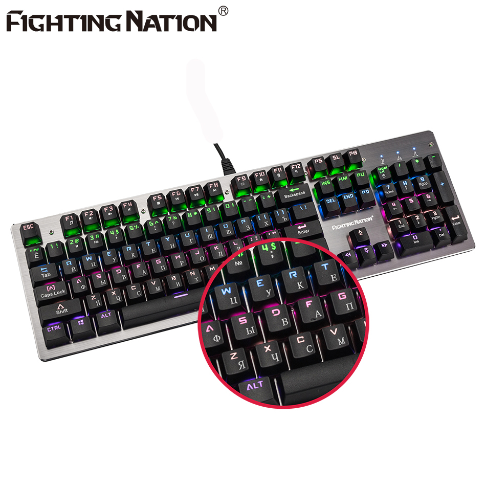 FIGHTING NATION Russian Mechanical Backlit Illuminated Wired USB Game Gaming Gamer Computer Keyboard Backlight Keycaps professional 29 keys programmable mechanical usb wired one hand gaming keyboard rgb led backlit backlight for pro gamer