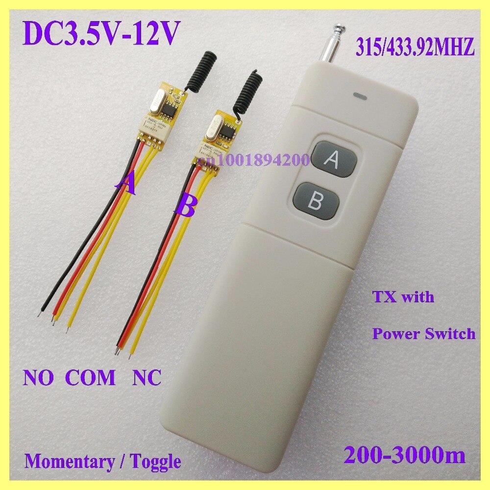 3.7v 5v 6v 7.4v 9v 12v Micro Remote Switch Door Openner Wireless Switch Button Remote Control Switch RC Remote ON OFF NO COM NC