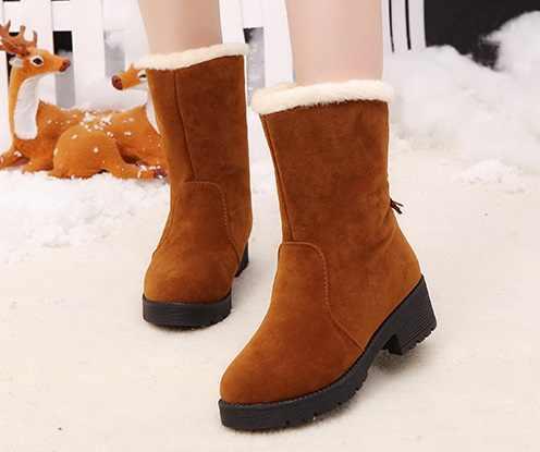 2018 Kış Kadın Çizmeler Orta Buzağı Botlar Yüksek Bota Su Geçirmez Bayanlar Kar Kış Ayakkabı Kadın Peluş Astarı Botas mujer Invierno