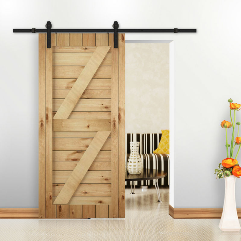 10FT-16T American Country Style Steel Single Sliding Barn Wood Door Hardware European Round Head Sliding Door Hardware Set 2pcs set stainless steel 90 degree self closing cabinet closet door hinges home roomfurniture hardware accessories supply