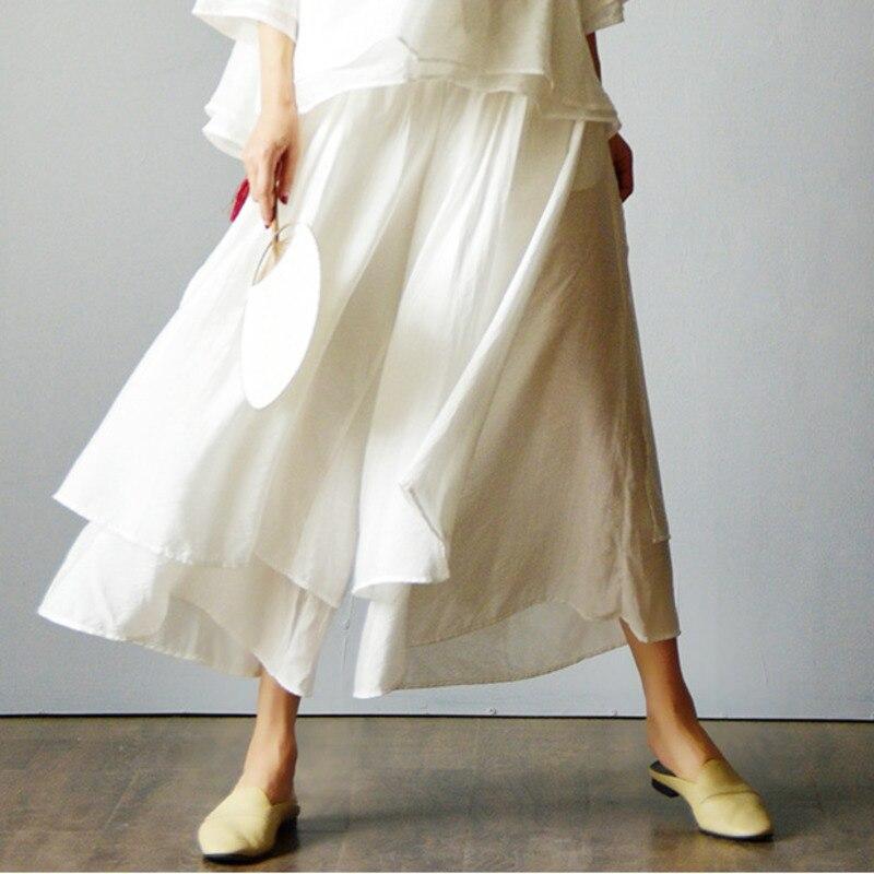 #0701 Cotton Linen   Wide     Leg     Pants   Women White Black Loose Vintage Elastic Waist Trousers Side Split Double Layer   Pants   Ladies