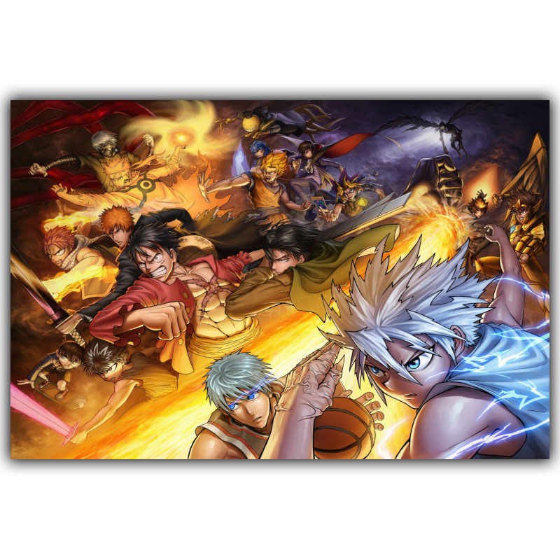 New One Piece Strong World Anime Silk Poster Fair Tail Dragon Ball Naruto