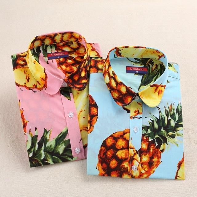 Dioufond Для женщин рубашка с принтом летние хлопковые топы с длинным рукавом Blusas Femininas Плюс Размеры 5XL рубашка Для женщин Ананас блузка