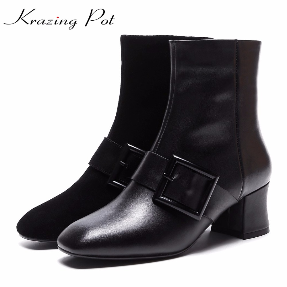 Krazing Pot new genuine leather square toe metal buckle decoration women punk style winter boots handsome zipper ankle boots L75 allen roth brinkley handsome oil rubbed bronze metal toothbrush holder