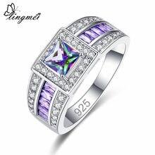 Lingmei atacado casamento banda sterlingjewelry presentes multi & azul & branco & roxo zircão prata colorring tamanho 6 7 8 9