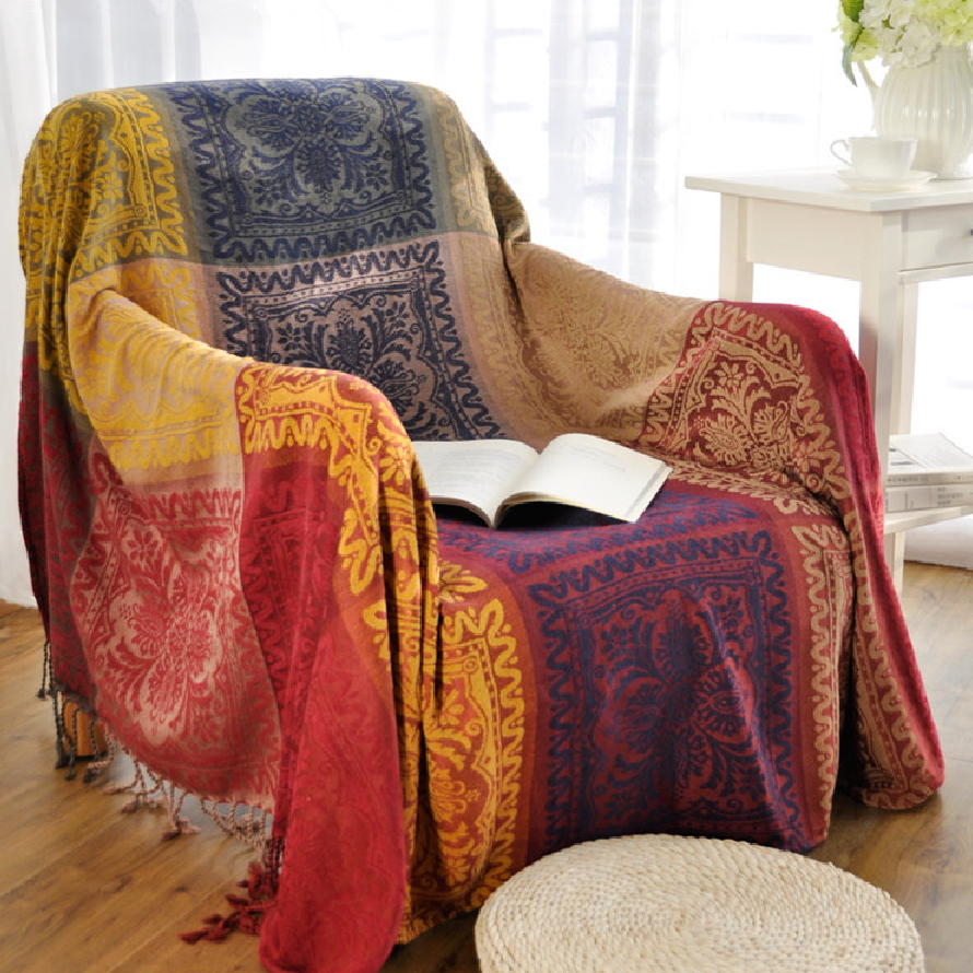 Bohemian Chenille Blanket Couch Sofa Decorative Slipcover Throws Plaid Rectangular Boho