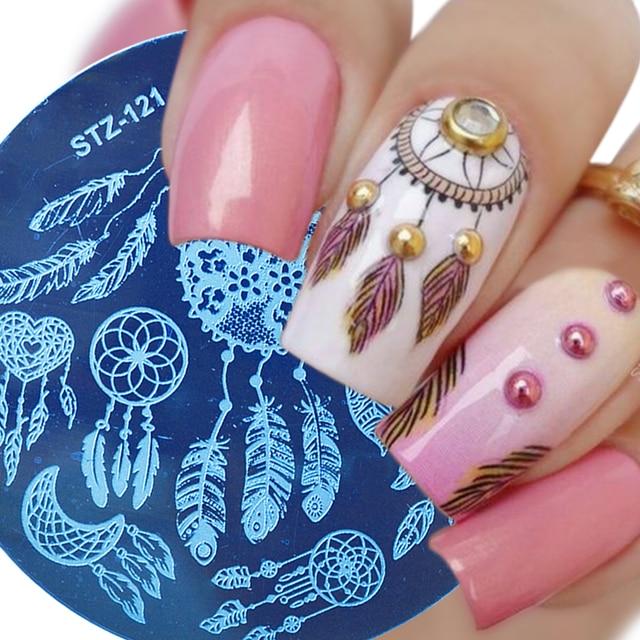 1 stuks Ronde Nail Stempelen Sjabloon Platen Dream Catcher Bloemen Kant Afbeelding Poolse Transfer DIY Gereedschap Voor Nail Art JISTZ101-130