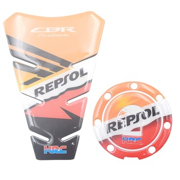 For Honda CBR600RR CBR1000RR REPSOL HRC CBR FIREBLADE 3D Carbon Look Tank Pad & Fuel Oil Tank Cap Cover Prorector Sticker Decal Honda CBR250R
