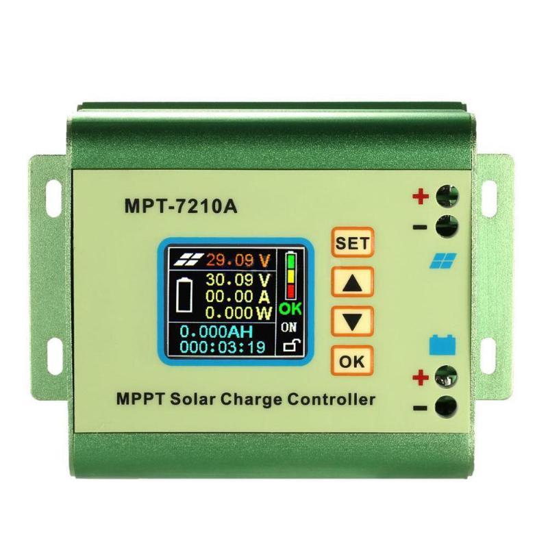 Contrôleur de Charge de régulateur solaire LCD haute vitesse MPPT 7210A DC-DC accessoires d'outils électriques en alliage d'aluminium Boost